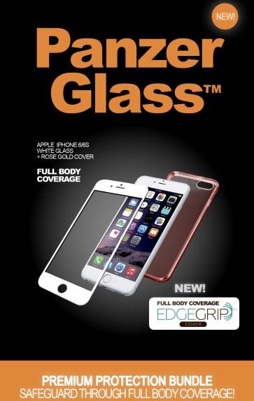 Billede af Panzer Glass Sikkerhedsglas Premium iPhone 6/6S Hvid med Rosegold cover