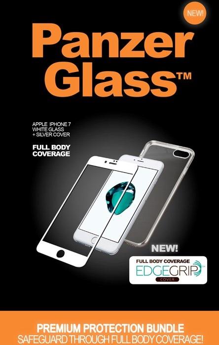 """Billede af Panzer Glass Sikkerhedsglas Premium iPhone 7 4.7"""" Hvid med Sølv Edge Grip Cover"""