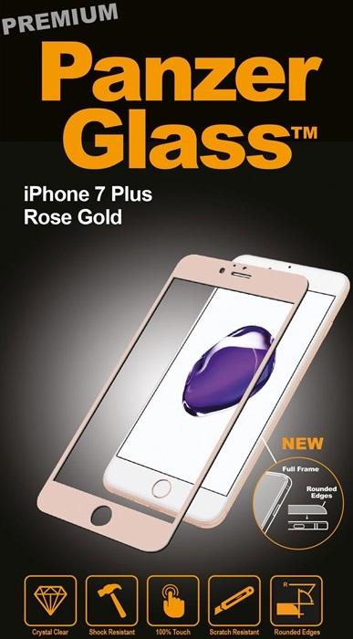 Billede af Panzer Glass Sikkerhedsglas Premium til iPhone 7 Plus Rosegold