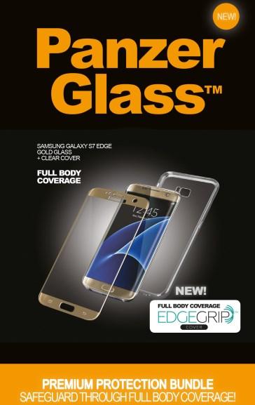 Billede af Panzer Glass Sikkerhedsglas Premium Samsung S7 Edge Guld med Clear Cover