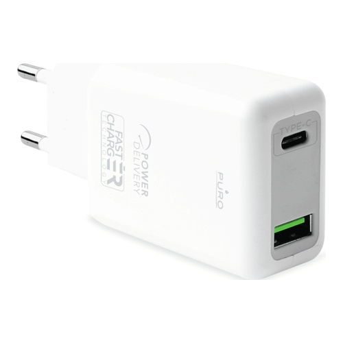 Image of   PD Wall Charger USB-C+USB-A 30W White