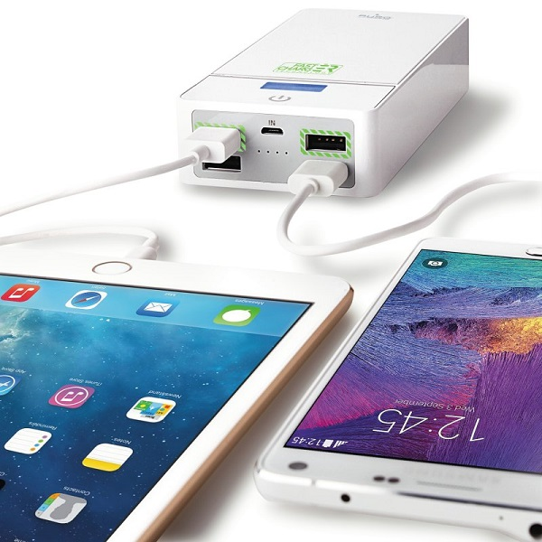 Puro Universal Powerbank / Eksternt Batteri 20.000 mAh 6.2A - hvid