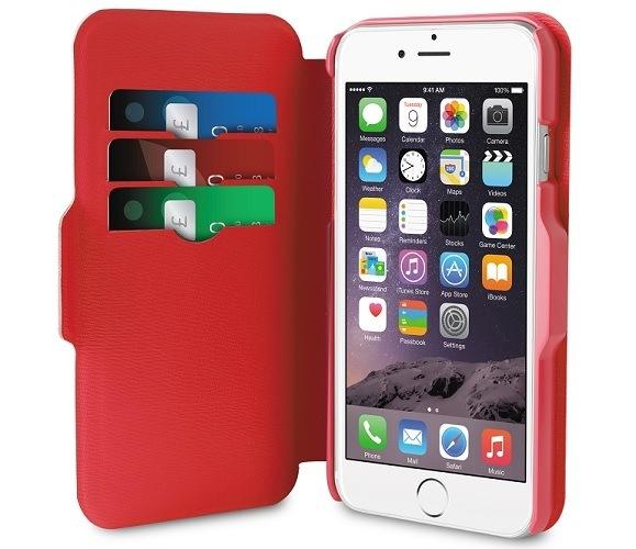 Billede af Puro iPhone 6 Plus Eco-leather Bi-Color Wallet Sort/Rød