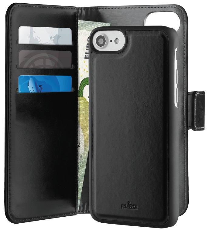 Billede af Puro 2-i-1 cover / pung i læder til iPhone 6 / 6S / 7 Sort og grå