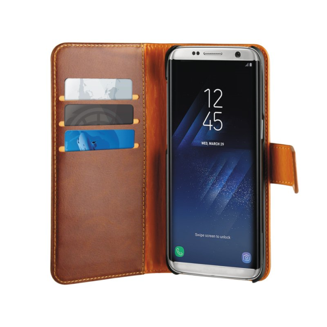 Image of   Puro Duetto 2in1 læder cover til Samsung Galaxy S8 Brun/gul