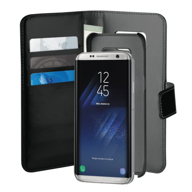 Image of   Puro Duetto 2in1 læder cover til Samsung Galaxy S8 Sort/grå
