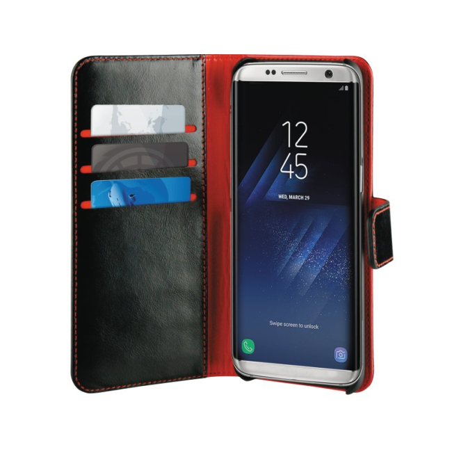 Image of   Puro Duetto 2in1 læder cover til Samsung Galaxy S8 Sort/rød