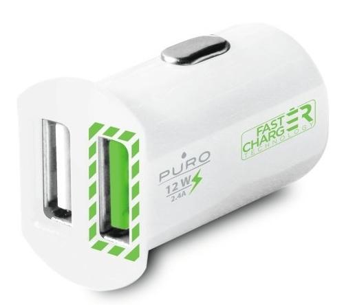 Billede af Biloplader med 2 USB Porte Puro Universal 2.4A Fast Charger Hvid