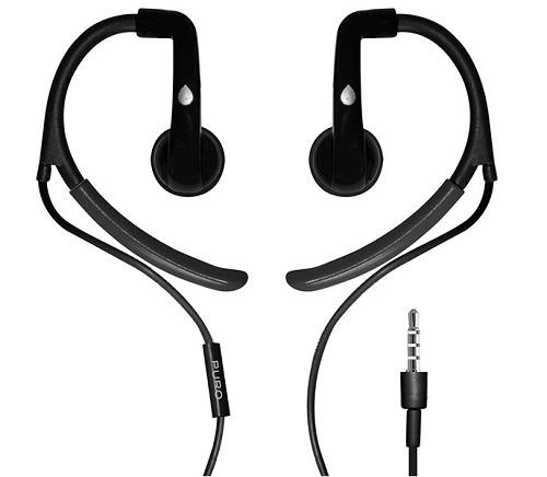 Billede af Puro Sport stereo headset med ørekroge og mikrofon Sort