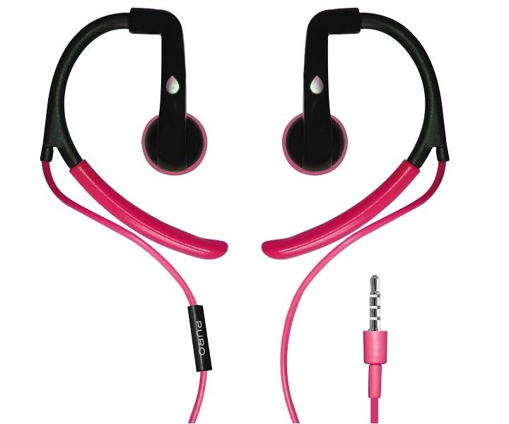 Billede af Puro Sport stereo headset med ørekroge og mikrofon Pink