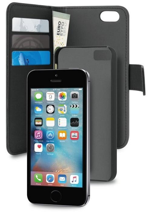 Billede af iPhone 5 / 5S / SE Magnet pung taske og cover 2-i-1 fra Puro Sort