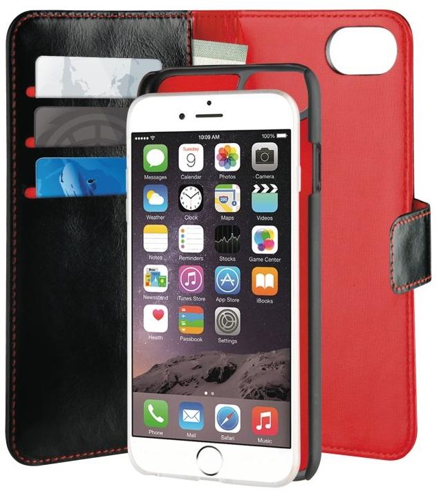 Billede af Puro Duetto 2in1 læder cover til iPhone 8 / 7 og iPhone 6/6S Sort/rød