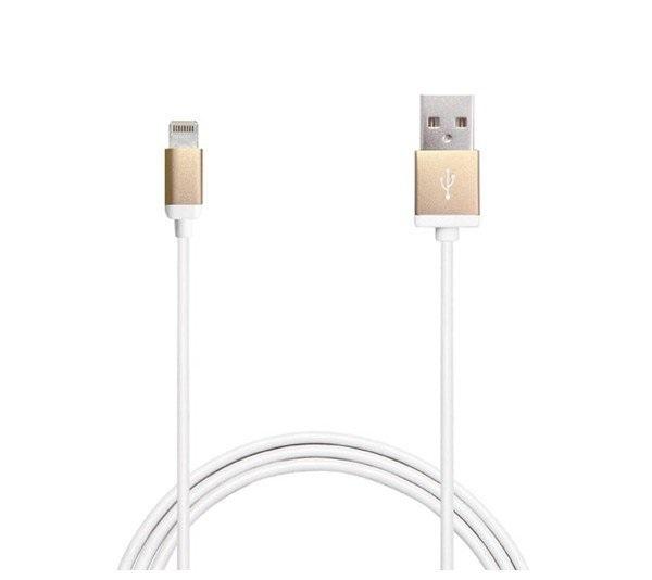 Billede af Puro Lightning til USB datakabel 1 meter Apple godkendt Hvid/Guld