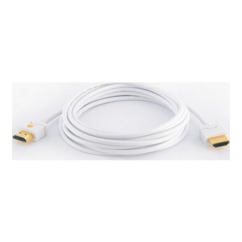 Image of   Qnect HDMI kabel High Speed med Ethernet ultra slim hvid 3m