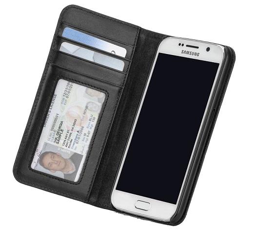 Billede af Samsung Galaxy S6 Pung Case-mate Wallet Folio i ægte læder Sort