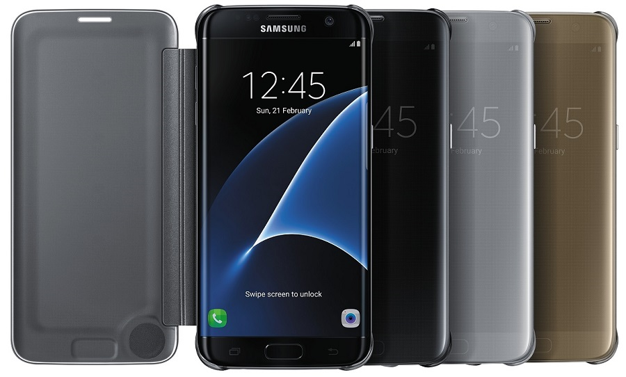 Image of   Samsung Galaxy S7 Edge Clear View Flip Cover Originalt EF-ZG935CF Guld