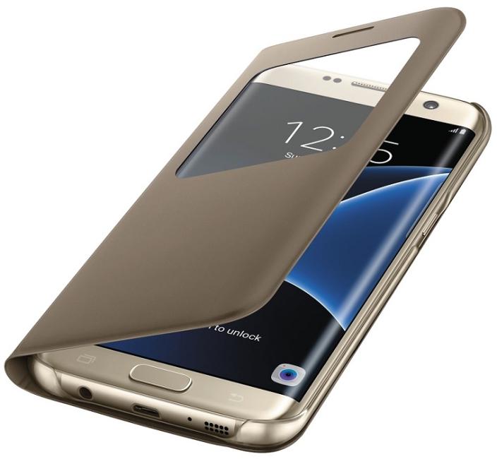 Image of   Samsung Galaxy S7 Edge S View Flip Cover Originalt EF-CG935PF Guld