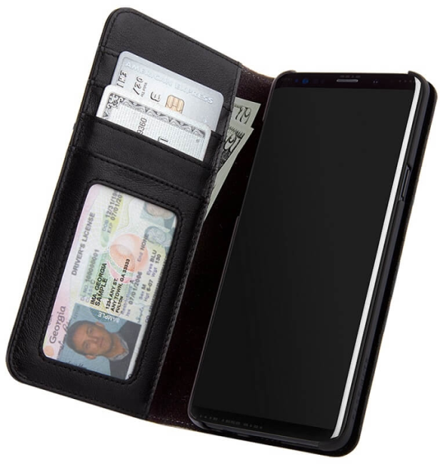 Image of   Samsung Galaxy S9+ (Plus) Flipcover / Pung Case-mate Wallet Folio i ægte læder Sort
