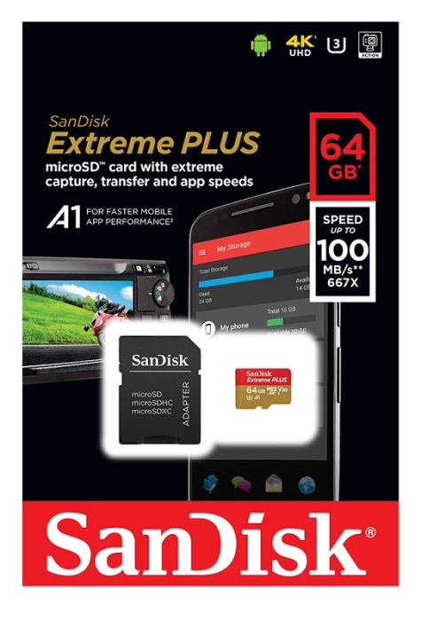Image of   SANDISK EXTREME+ MICROSDXC (64GB W/ SD ADAPTER 170MB/S)