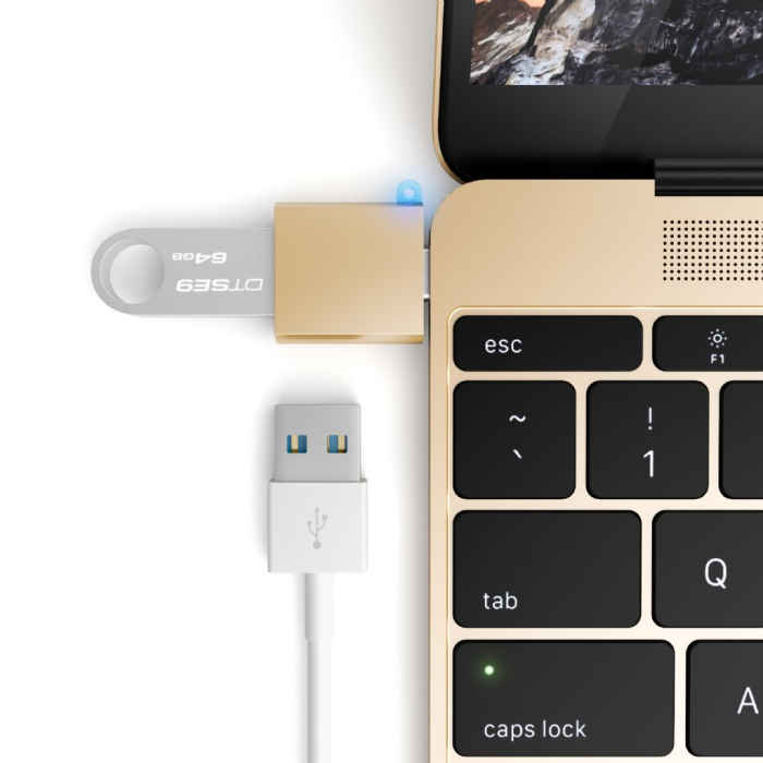 Image of   Satechi USB-C USB adapter - Turn your 12-inch Mac USB-C port to a USB 3.0 port