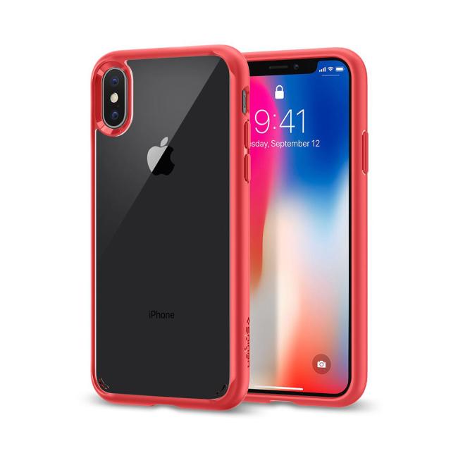 Image of   Spigen Case Ultra Hybrid cover til iPhone X Rød
