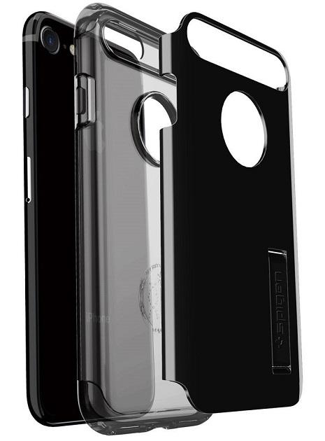 Image of   Spigen Slim Armor cover iPhone 7 Jet Black sort/transparent