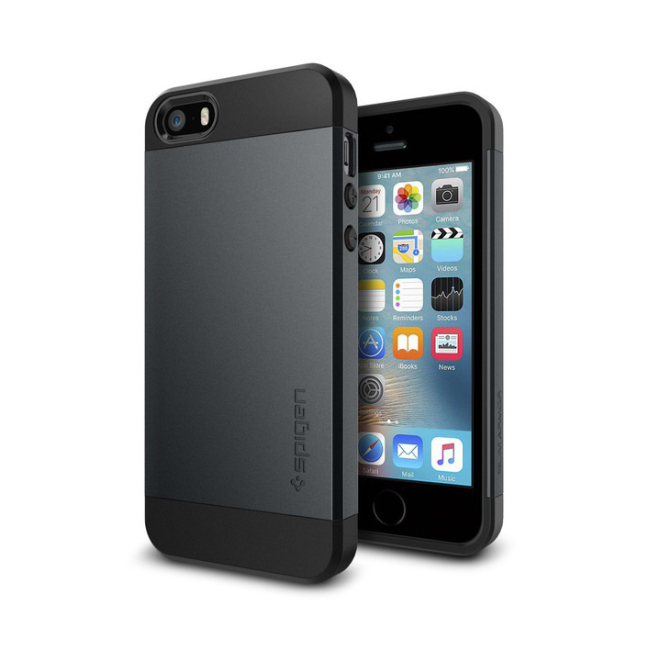 Image of   Spigen Slim Armor cover til iPhone 5/5S/SE metal slate