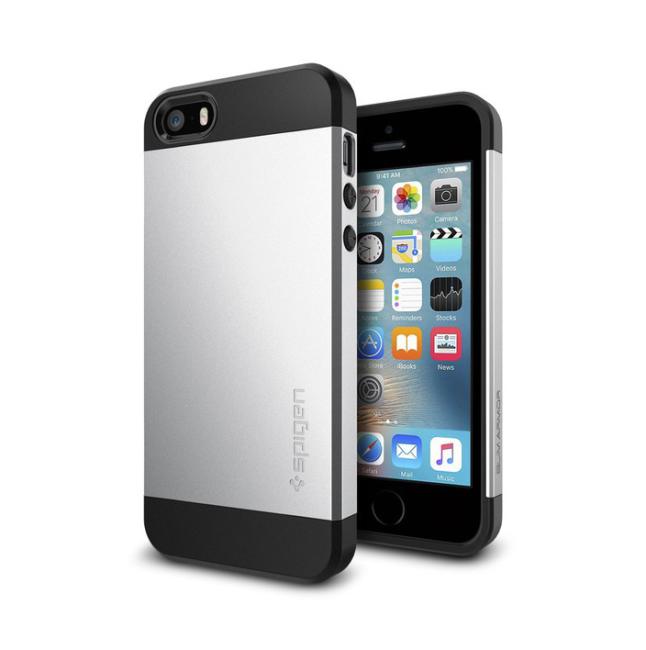 Image of   Spigen Slim Armor cover til iPhone 5/5S/SE satin silver