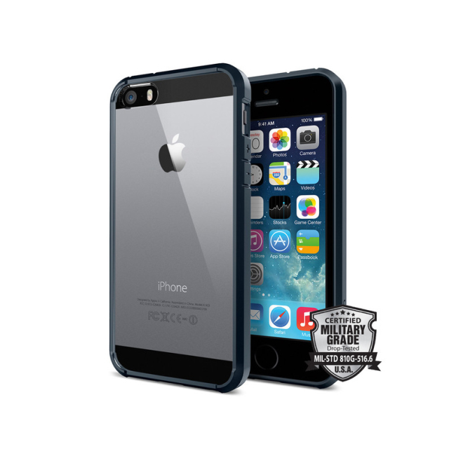 Image of   Spigen Ultra Hybrid cover til iPhone 5/5S/SE Metal Slate