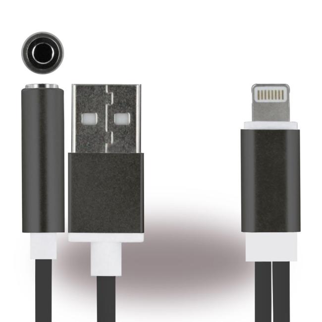 Billede af UreParts - 2 in 1 Headset Connector + Charger Cable - Apple iPhone 7 7+ X 8 8+ - Black