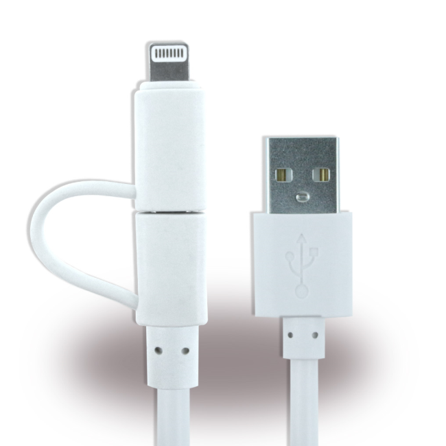 Billede af UreParts - 2in1 Charging + Data Cable - Micro USB and Lightning - Apple iPhone 7 7+ X 8 8+ - White