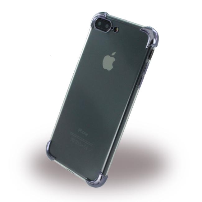 Billede af UreParts - Black Corner Silicone Cover / Phone Case - Apple iPhone 7 Plus 8 Plus - Transparent Black