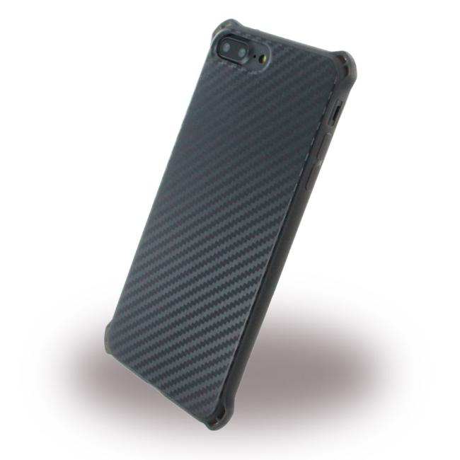 Image of   UreParts - Carbon Case / Hard Cover - Apple iPhone 7 Plus 8 Plus - Black