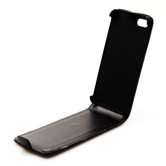 Image of   UreParts/Konkis Flip Cover til iPhone 5/5S/SE Sort