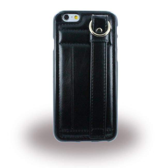 UreParts - TPU Cover/ TPU Case with Leather - Apple iPhone 6 Plus 6s Plus - Black