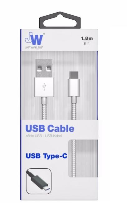 Image of   USB C Opladerkabel 1.8 m. flettet sølv Just Wireless
