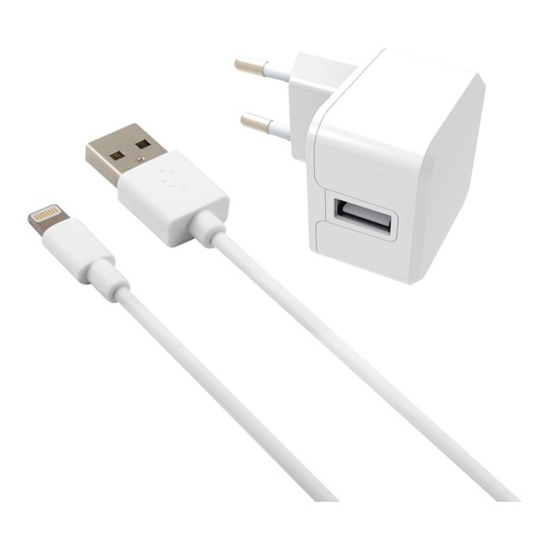 Image of   USB Wall Charger KIT 2.4A 5V w/Apple MFI Cab 1m