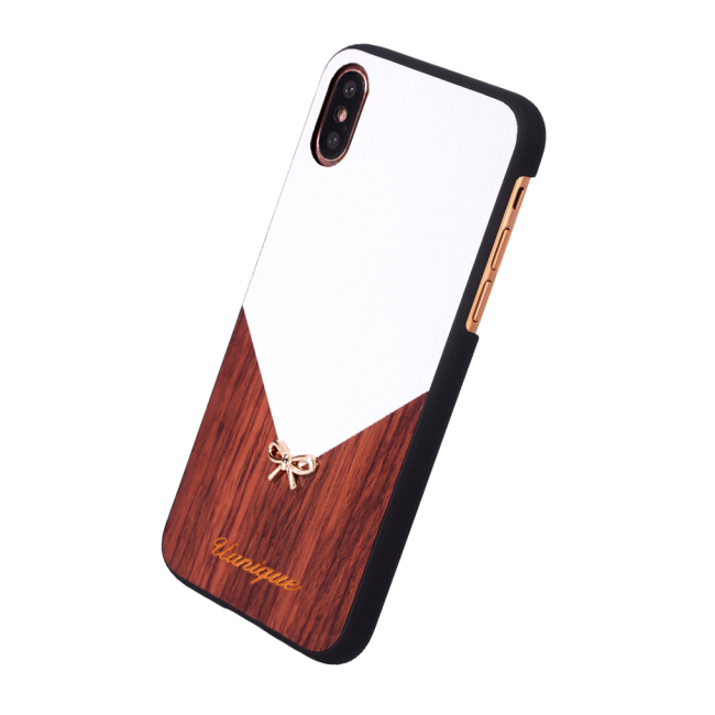 Image of   Uunique - Rose Wood - Hard Cover - Apple iPhone X - White/Brown