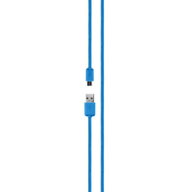 Image of   XQISIT Bomuldskabel MicroUSB 2.0 18m blå