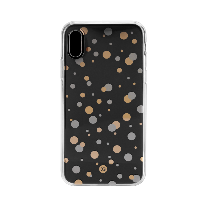 Image of   XQISIT Shell Dots for iPhone X/Xs clear/gold col./silver col.