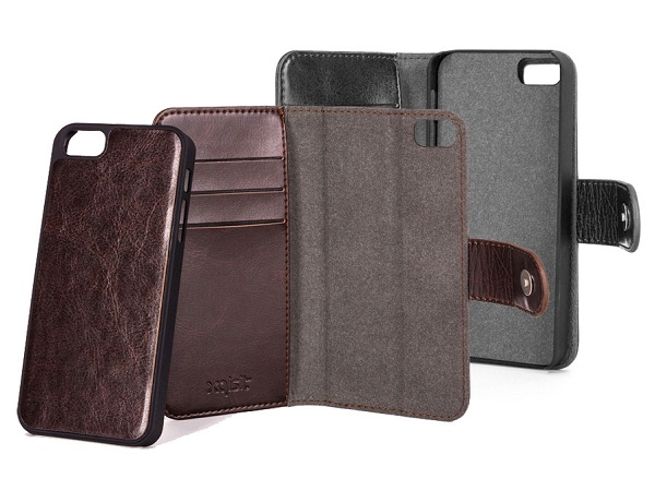 Image of   Xqisit Slim Wallet Case Eman med aftageligt cover til iPhone SE / 5 / 5S - Brun