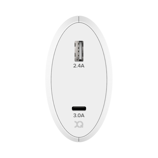 XQISIT Travel Charger 5.4A Dual USB + USB C EU white