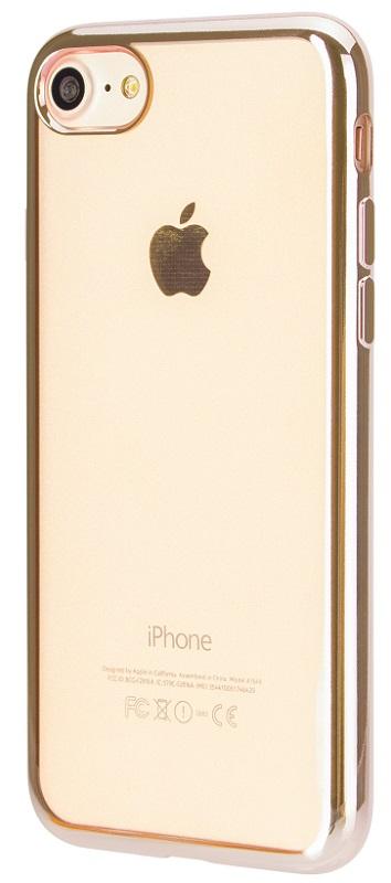 Billede af Genemsigtigt Xqisit Flex Cover med guld kant til iPhone 7 / 6S / 6