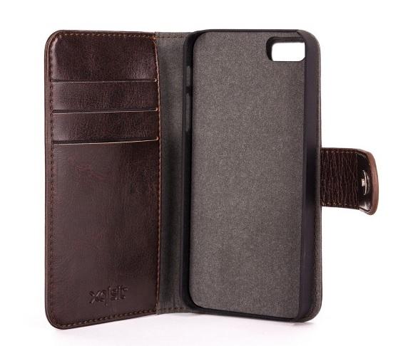 Billede af Xqisit Slim Wallet Case Eman med aftageligt cover til iPhone SE / 5 / 5S - Brun