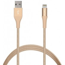 Puro Fabric Charge & Sync Lightning kabel til iPhone / iPad Guld