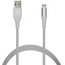 Puro Fabric Charge & Sync Lightning kabel til iPhone / iPad Sølv