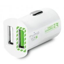 Biloplader med 2 USB Porte Puro Universal 2.4A Fast Charger Hvid