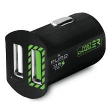 Puro Mini Car Fast Charger 2 USB 2.4A Black