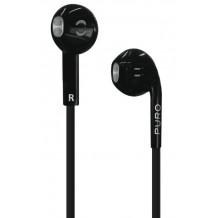 Puro Stereo Earphone Med Fladt Kabel Og Mikrofon Sort