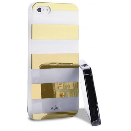 iPhone SE / 5 / 5S cover Puro Stripe Guld / hvid